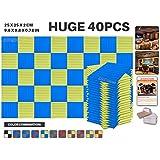 Ace Punch 40 Paquet 2 Combinaison de Couleurs BLEU ET JAUNE Flat Wedge Mousse Acoustique Panneau Insonorisation Sonorisation Absorbeur Traitement avec Ruban Adhésif 50 x 50 x 2 cm AP1035