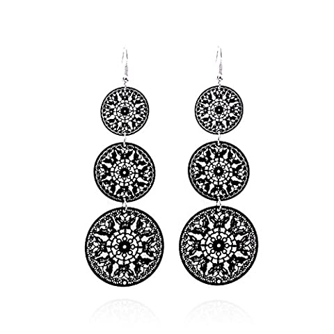 lureme Hollow Out Design Jewellery Three Disks Shape Pendant Dangle Earrings for Girls and Women (02003111)