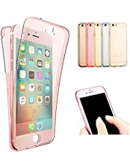 EUWLY iPhone 5S/SE Coque iPhone 5S/SE Gel Soft TPU Transparent Couverture Unique 360 DEgrés de Protection Douille de Téléphone Portable Ultra-mince Conception Flexible Anti Slip Rayures Couverture Résistant de Protection en Silicone pour iPhone 5S/SE Retour Souple en Silicone Smart Phone Sleeve pour iPhone 5S/SE Avec Stylo Stylo Bleu - Rose Or