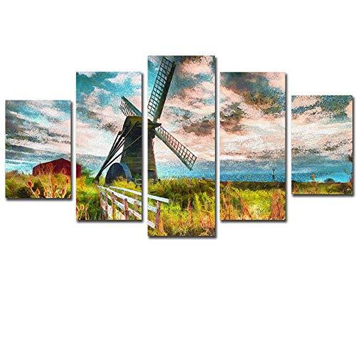 HXZFF Quadri Moderni Stampa su Tela 5 Piece Set Mulino Vento Dipinto Olio HD Scenario Arte Poster Dipinti Decorazione murale Soggiorno Camera da Letto Ufficio Canvas Pittura 150x80 cm Nessuna Co