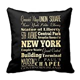 New York City of New York State Typography Art Pillow case 18x18