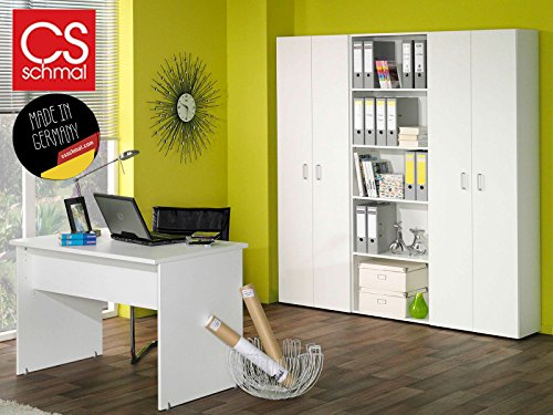 Büro-Kombi Büromöbel Schrank Regal Beistellschrank Beistellregal 'Trio I' (Weiß)