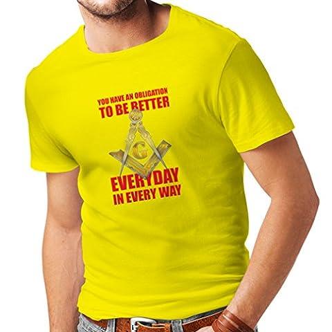 T-shirt pour hommes Freemasons slogan la symbolique maconnique signes boussole carré (Medium Jaune Multicolore)