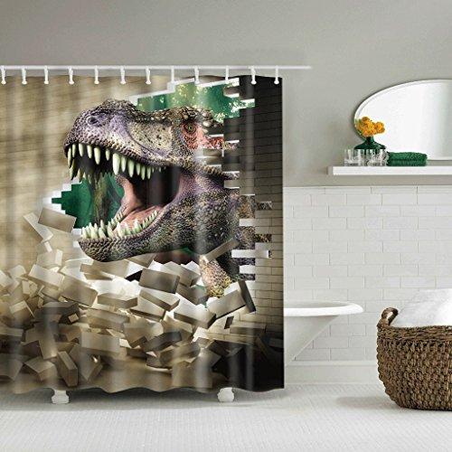 JHBJ Cortinas de ducha Patrón creativo de los dinosaurios Secado rápido impermeable Materiales de la protección del medio ambiente Gancho de metal Agujero colgante Cortinas de baño ( Tamaño : 180*200cm )