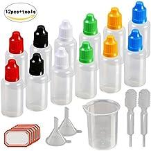 12 X 30ml cuentagotas del frasco de KAKOO plástico de la dosificación de tuna de la botella transparente y para llenar líquido, cierra de rosca de seguro para los niños