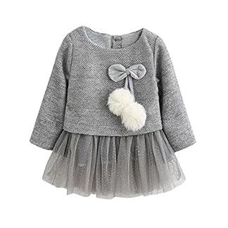 K-youth® Vestidos Niña, Bebe Niña Niños Manga Larga De Punto Arco Ropa Recién Nacido Niña Tutú Princesa Vestido Ropa Bebe Niña Invierno Vestidos