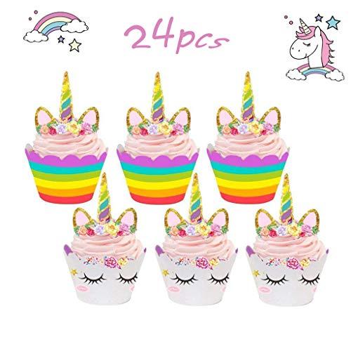 Tumao 24Pack Unicornio Cake Toppers de Tarta Magdalenas Decoración para Niños niñas Regalo Unicornio Decoraciones de Fiesta de cumpleaños.