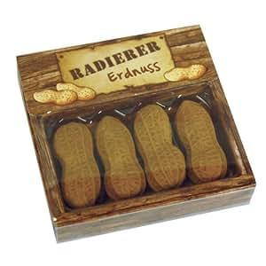 Lot de 4 gommes motif cacahuète Brun