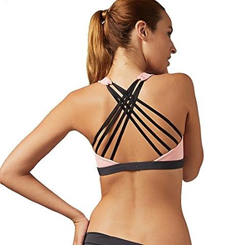 Vertvie Femme Soutien-gorge de Sport Push Up Bra Lingerie Pad Amovible sans Armature Cross Back Respirant pour Fitness Jogging Yoga (S(M sur l'étiquette), Rose)