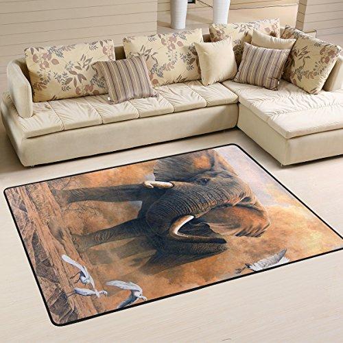 Woor Elefant Kunst Wohnzimmer Essbereich Teppiche 91,4x 61cm Bed Room Teppiche Büro Teppiche Moderner Boden Teppich Teppiche Home Decor, multi, 3 x 2 Feet -