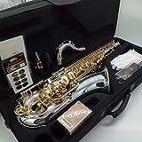 Marke neue Musik FANCIER Club Tenor Saxophon t-9937Silber glänzende Professionelles Mundstück Tenorsaxophon vernickelt mit Fall Blättern Hals