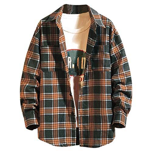 Aoogo Herren Oberteile Herren T-Shirt,Lässiges Langarmhemd mit Schottenmuster für Herren Casual Fashion Plaid Druck lose Revers Langarm Shirt Tops Bluse
