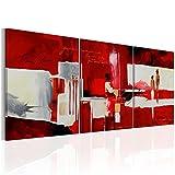 murando handgemalte Bilder 180x80cm Gemälde 3 TLG rot beige 92279