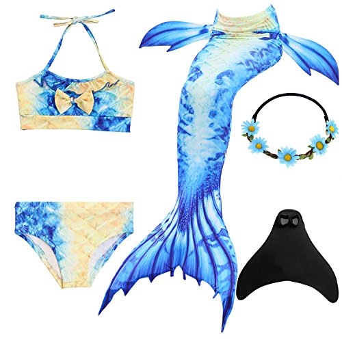 UrbanDesign Meerjungfrau Flosse Zum Schwimmen Meerjungfrau Schwanz mit Flosse mit Bikini für Kinder Mädchen, 9-10 Jahre, Blau Gelb -