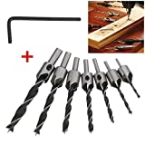 Mohoo 7Pcs HSS Flute Countersink Drill Bit Set Reamer Woodworking Chamfer Twist Shank Auger Drilling Drill Bit Tool for Wood Metal Aluminum Drilling Usage 3mm-10mm