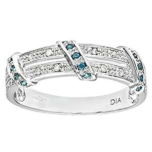 Naava Women's 9 ct White Gold Blue Diamond Twist Ribbon Eternity Ring
