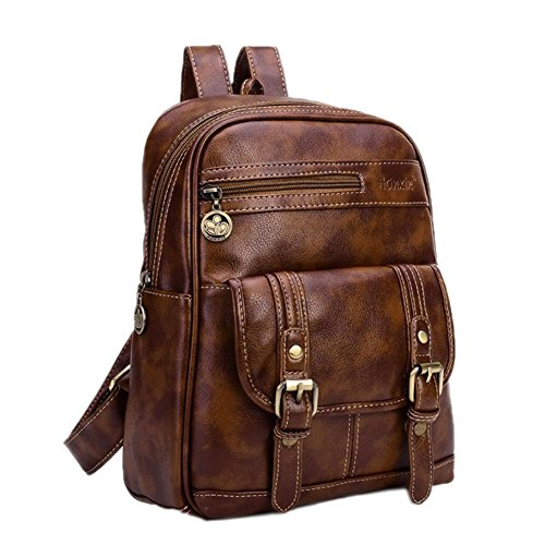 DELEY Vintage Women Tote Handbag Shoulder Bag School Backpack Satchel Brown