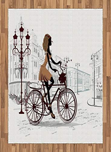 ABAKUHAUS Teen Zimmer Teppich, Junges Mädchen in Paris, Deko-Teppich Digitaldruck, Färben mit langfristigen Halt, 80 x 150 cm, Hellbraun und Perle (Zimmer Teppiche Für Teens)