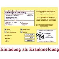 Einladungskarten Zum Geburtstag Motiv: Krankenschein 30 Stück (inkl. Druck  Ihrer Daten Und Texte