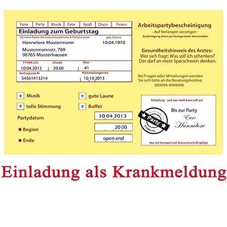 Einladungskarten Zum Geburtstag Motiv: Krankenschein (inkl. Druck Ihrer  Daten Und Texte) Krankmeldung 18 20 30 40 50 60 Usw  Arbeitsunfähigkeitsbescheinigung ...