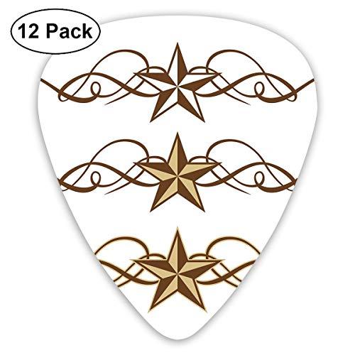 Guitar Picks12pcs Plectrum (0 46mm-0 96mm), Western Stars Scroll Design  Ornate Swirls Antique Artistic Print,For Your Guitar or Ukulele