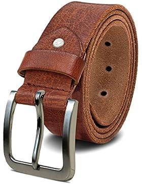 ROYALZ Cinturón de cuero para hombre cuero de búfalo de 4mm, vintage para vaqueros-cinturón de hombre con hebilla...