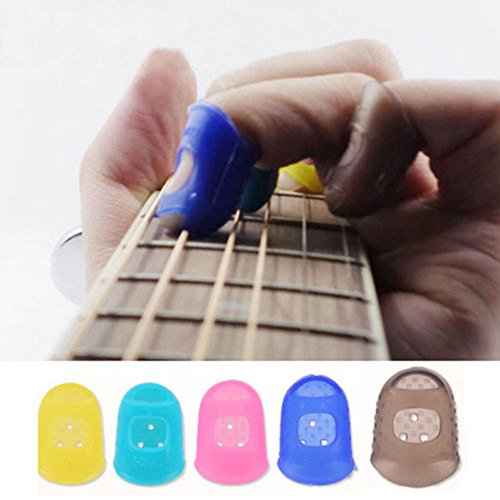 Distinct® 1 Pcs Mano Izquierda del Gel de Silicona dedo Cunas Guitar Plectrum (color al azar) M