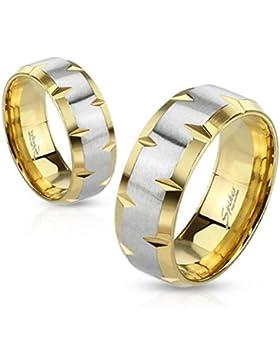 Paula & Fritz® Ring aus Edelstahl Chirurgenstahl 316L vergoldet Gehaltenes Band silber gebürstet verfügbare Ringgrößen...