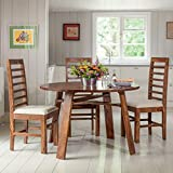 #8: Nisha Furniture Sheesham Wooden Dining Table 4 Seater | Round Balcony Dining Table Set with 4 Chairs | Home Dining Room Furniture | Natural Teak Finish