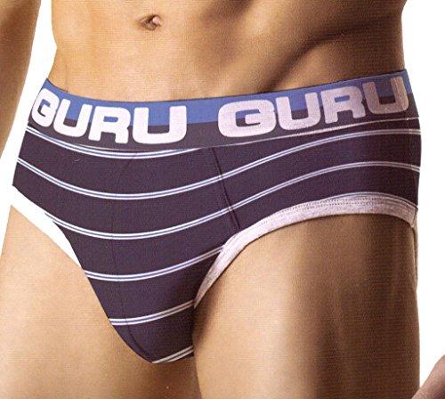6 slip uomo GURU con elastico esterno (2blu,2nero,2grigio) art.2591 (s)