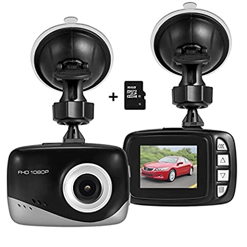 Foxcesd Mini Dash Cam with 16GB SD Card, Full HD 1080P Car Dash Camera 140° Wide Angle Driving Video Recorder with G-Sensor, Loop Recording, Motion Detection, Parking