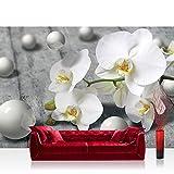 Fototapete 368x254 cm PREMIUM Wand Foto Tapete Wand Bild Papiertapete - Orchideen Tapete Orchidee 3D Kugeln schwarz weiß - no. 1882