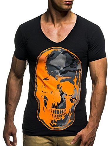 LEIF NELSON Herren Sommer T-Shirt V-Ausschnitt Slim Fit Baumwolle-Anteil   Moderner Männer T-Shirt V-Neck Hoodie-Sweatshirt Kurzarm lang   LN6291 Schwarz-Orange Large