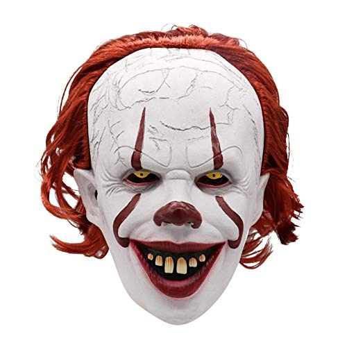 Räuber Ohne Maske Kostüm - fridaymonga Clownsmaske,Erwachsene Horror Latex Maske Scary Red Hair Clown Maske Für Halloween Cosplay Horror Thema Maskerade Dress Up Party Requisiten