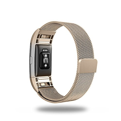 Fitbit Charge 2 Armband (140mm-250mm), Edow Milanese Edelstahl Replacement Metallarmband Uhrband mit Magnetverriegelung für Fitbit Charge 2, Klein, Champagne Gold