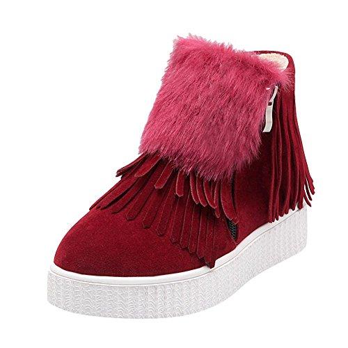 Mee Shoes Damen Quaste Reißverschluss warm gefttert Ankle Boots Rot
