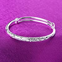 Bracciale in argento a forma di palla rotonda placcato argento femminile con colore solido