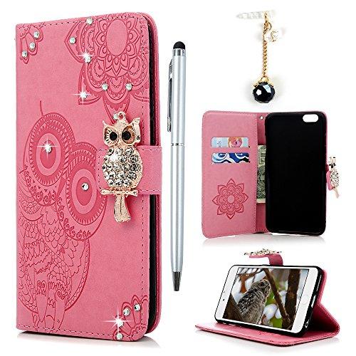 Badalink Hülle für iPhone 6 Plus / iPhone 6s Plus Gold Eule Diamant Handyhülle Leder PU Case Cover Magnet Flip Case Schutzhülle Kartensteckplätzen und Ständer Handytasche mit Eingabestifte und Staubsc Rosa