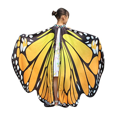 schmetterling kostüm, HLHN Frauen Schmetterling Flügel Schal Schals Nymphe Pixie Poncho Kostüm Zubehör für Show / Daily / Party (Orange_Kinder,136x108 ()