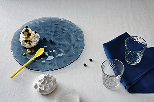 Bormioli Rocco Diamond Ocean Blue Platzteller 33cm, transparent, gehärtetes Glas, 6 Stück