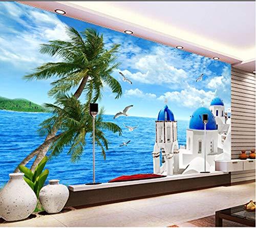 Uhu 3D Wallpaper Benutzerdefinierte Vintage Tapete, Blau Mittelmeer Holz Bord Segeln Leuchtturm Für Das Wohnzimmer Schlafzimmer Tv Hintergrund Tapeten, 430 * 300Cm