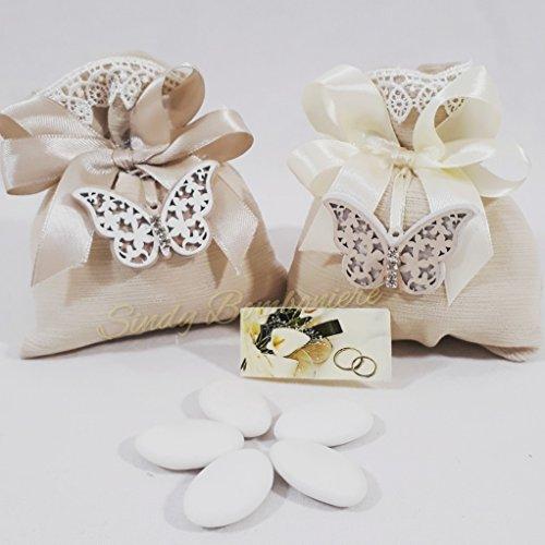 Sacchetto in seta di color tortora con farfalla pendente in legno con swarovski