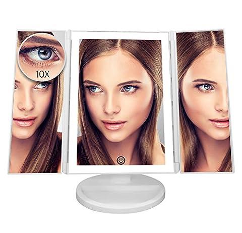LUXOR MD Miroir pour maquillage de courtoisie Triplé avec 36 Lumières LED, Écran tactile, 180 ° Support réglable, Grossissement de 10x détachable, Alimenté par USB et batteries.