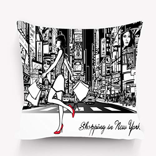 suzhoudoushioumiyafushi Kissenbezüge Throw Pillow Cushion Cover Shopping Times Square New York Night All ads Imaginary Painting Decorative Square Accent Pillow Case 18 X 18 inches