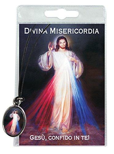 Medaille geharzte Jesus Barmherzigkeit mit Schlaufe in Blister mit Gebet in Italienisch (Ferrari Home Decor)