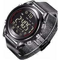 MXueei Smarte Uhren ZfgG Ultradünne Smart Watch Steel Band Bluetooth Handy Informationen Wecker Alert Sport Zählen Uhr für Mann Frau für IOS und Android Perfekter Wohnassistent (Farbe : SCHWARZ)