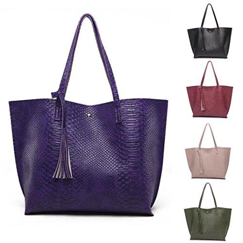 Damen Handtaschen, Huhu833 Frau beiläufige Taschen Leder Quasten Große Kapazität Handtasche Alligator Pattern Shoulder Bag Violett