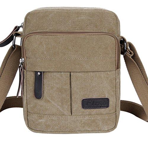 Super modernes Herren und Damen kleine Vintage Canvas Umhängetasche Messenger Bag Cross-Body-Tasche Organizer Multi Taschen Schultertasche Khaki