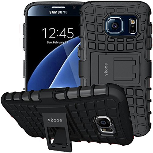 Galaxy S6 Hülle, S6 Hülle ykooe (TPU Series) Dual Layer Hybrid Handyhülle Drop Resistance Handys Schutz Hülle mit Ständer für Samsung Galaxy S6 (Schwarz)