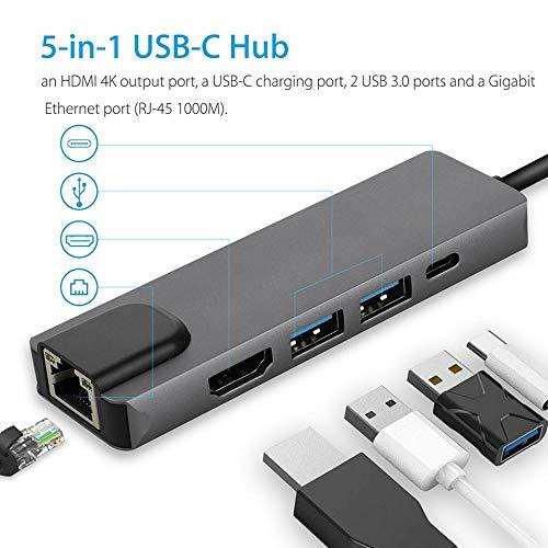 Yaoaomon 5 in 1 Typ C Hub auf 4K HDMI 2 USB 3.0 PD Gigabit Ethernet Adapter Aufladen